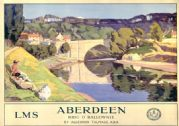 Aberdeen, Brig o'Balgownie. LMS Vintage Travel poster by Algernon M Talmage. 1924
